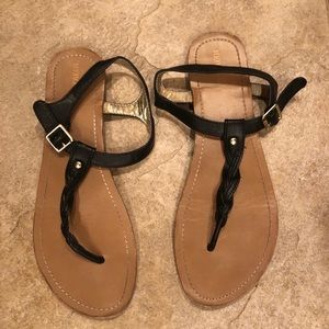 Black braided leather T strap sandals